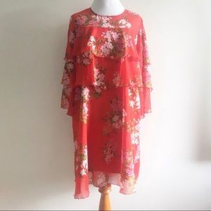 Who What Wear Dress Floral Print Red Ruffled Small